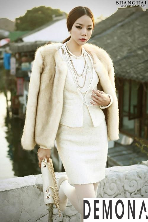 Áo khoác lông trắng nữ đẹp thu đông 2019 – 2021 duyên dáng ấm áp phần 3
