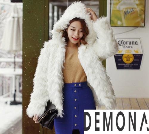 Áo khoác lông trắng nữ đẹp thu đông 2019 – 2021 duyên dáng ấm áp phần 10