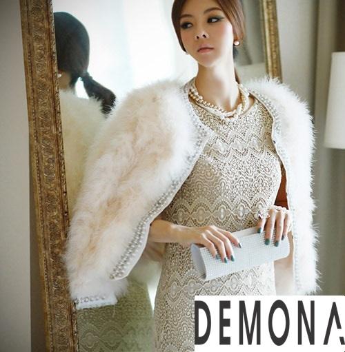 Áo khoác lông trắng nữ đẹp thu đông 2019 – 2021 duyên dáng ấm áp phần 9