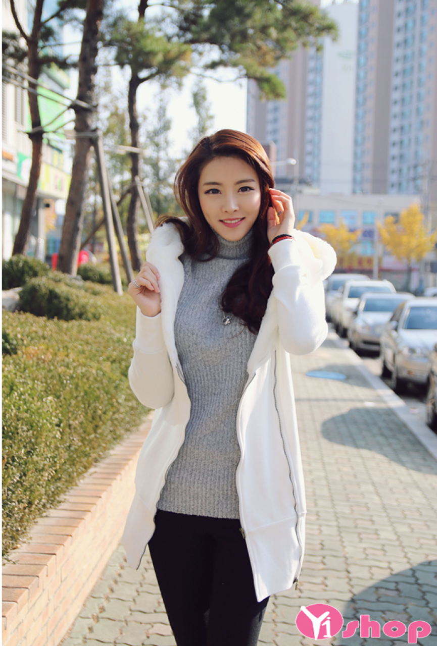 Áo khoác nỉ nữ đẹp Hàn Quốc thu đông 2021 - 2022 cho nàng công sở nấm lùn