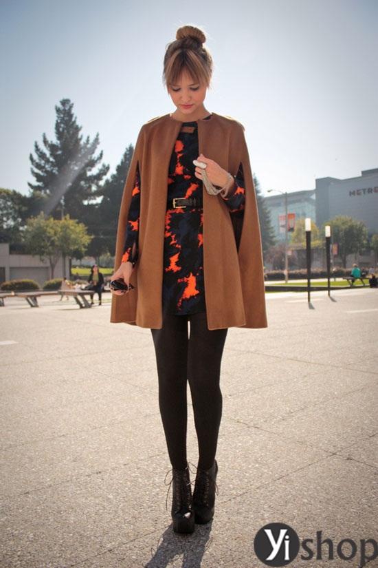 Áo khoác nữ cape coat đẹp thu đông 2021 - 2022 cho cô nàng sành thời trang phần 4