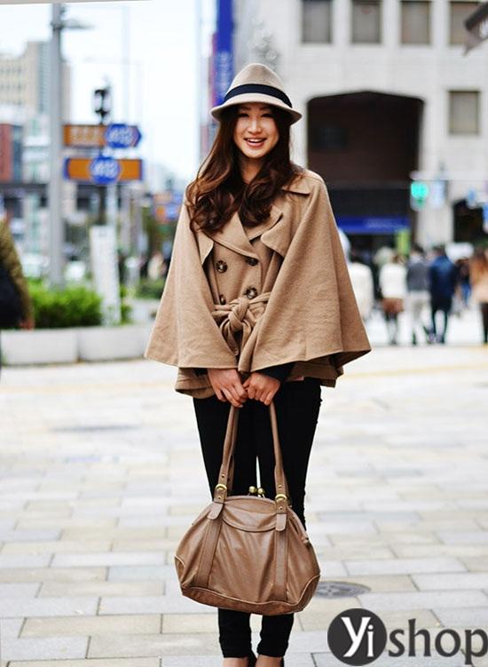 Áo khoác nữ cape coat đẹp thu đông 2021 - 2022 cho cô nàng sành thời trang phần 7