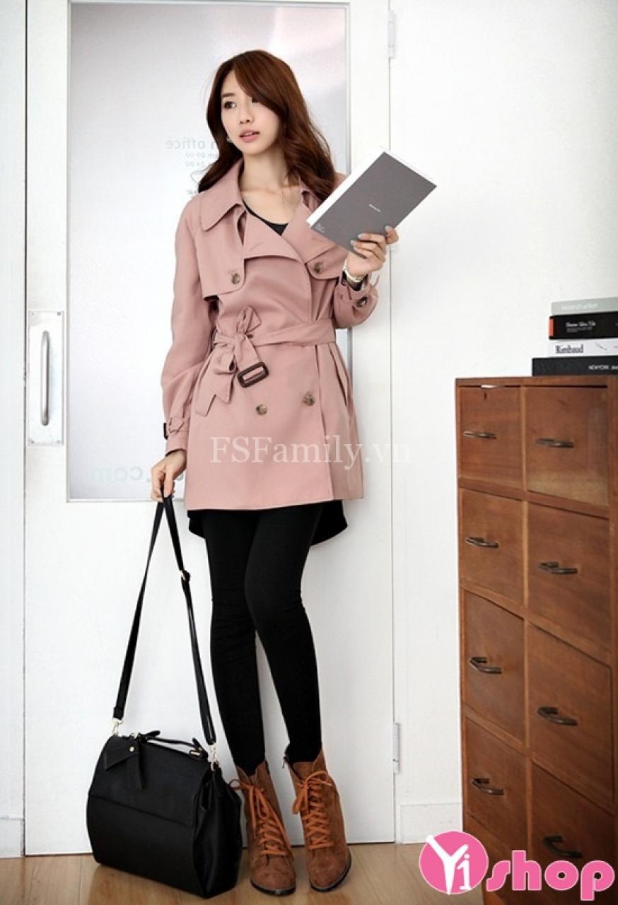 Áo khoác nữ chiết eo dáng dài đẹp quyến rũ ấm áp hot nhất thu đông 2019