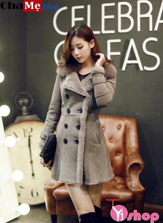 Áo khoác nữ cổ lông đẹp sang trọng không lạnh thu đông 2019 - 2019