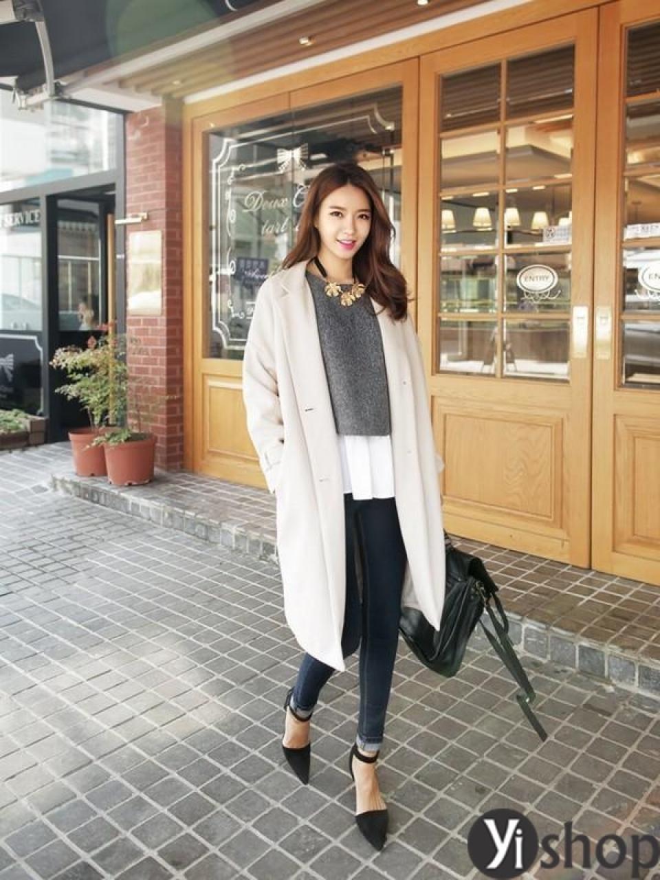 Áo khoác nữ dáng dài đẹp phong cách Hàn Quốc mới nhất thu đông 2021 - 2022