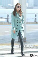 Áo khoác nữ dáng dài đẹp xu hướng thời trang của sao Hàn thu đông 2021 – 2022