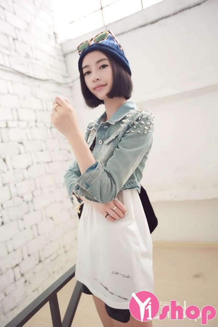 Áo khoác nữ denim Hàn Quốc đẹp cho nàng nấm lùn phong cách thu đông 2019