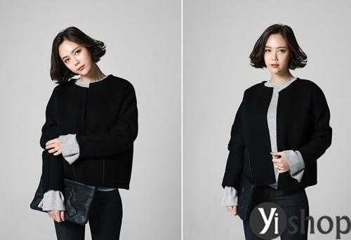 Áo khoác nữ màu đen đẹp nên có trong tủ đồ mùa đông 2021 - 2022 phần 7