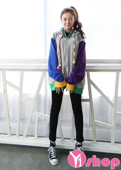 Áo khoác nữ màu xám đẹp cho mùa thu đông 2019 xì tin xuống phố