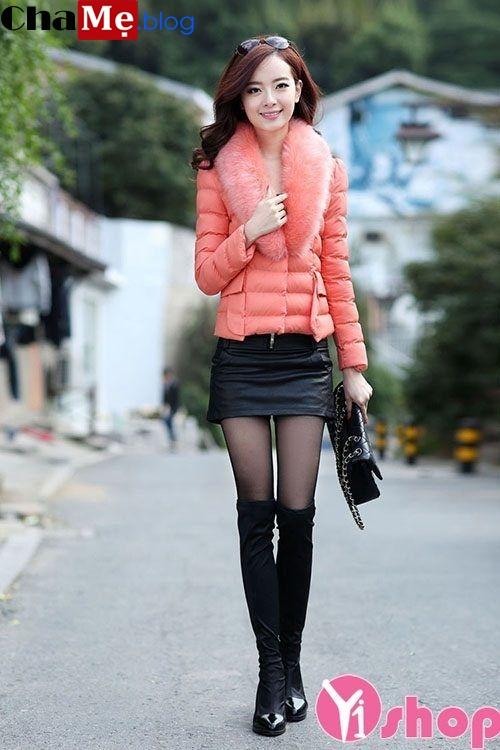 Áo khoác phao nữ cổ lông thú ngắn đẹp thời trang mùa đông 2021 - 2022