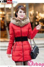 Áo khoác phao nữ cổ lông thú ngắn đẹp thời trang mùa đông 2021 – 2022
