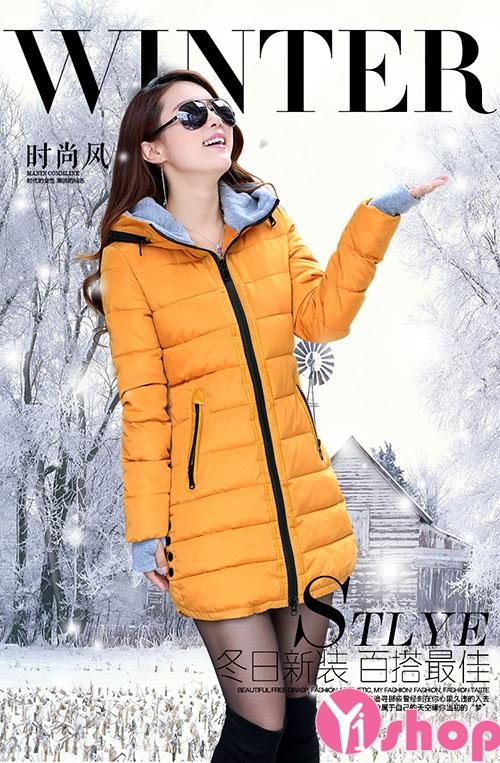 Áo khoác phao nữ cổ lông đẹp cho người gầy ấm áp thu đông 2019