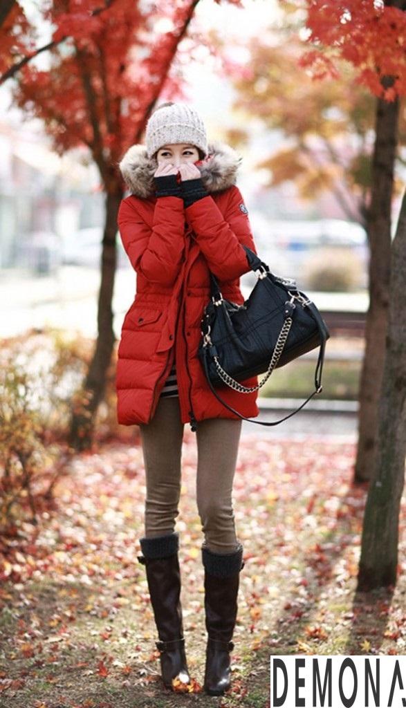 Áo khoác phao nữ cổ lông đẹp công sở thu đông 2019 – 2021 không lạnh phần 10