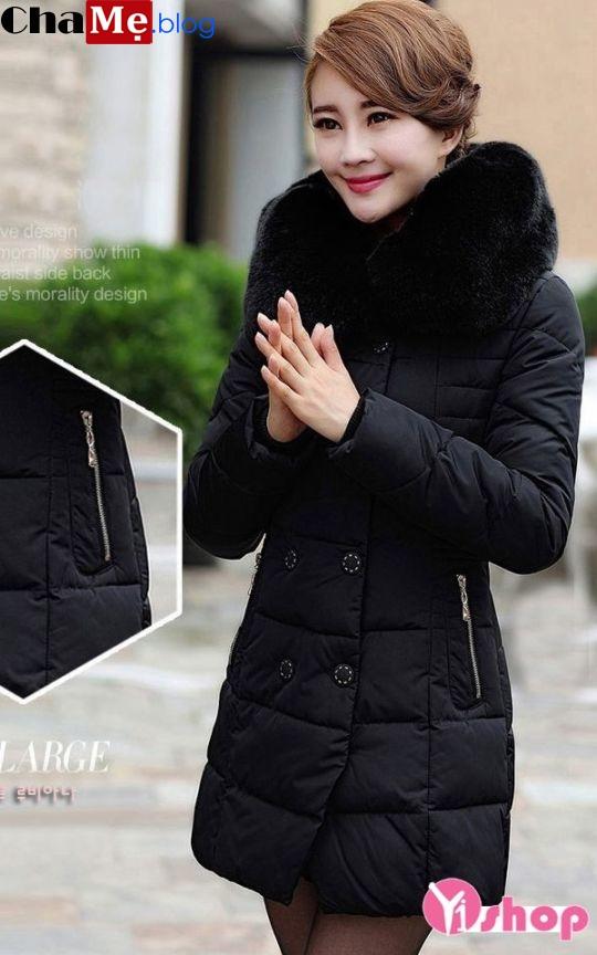 Áo khoác phao nữ cổ lông đẹp đông 2021 - 2022 ấm áp ngày đại Hàn Quốc