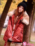Áo khoác phao nữ cổ lông Hàn Quốc đẹp không lạnh xu hướng đông 2021 – 2022