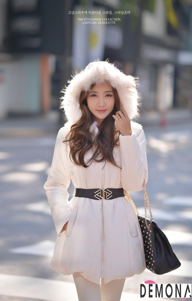 Áo khoác phao nữ cổ lông thú đẹp sang chảnh đến công sở thu đông 2021 – 2022 phần 12