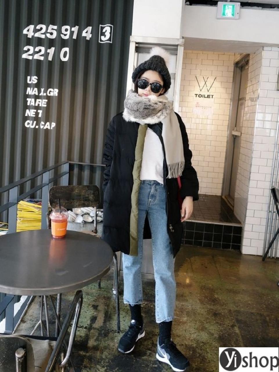 Áo khoác phao nữ dáng dài đẹp cho nàng sang trọng thu đông 2019