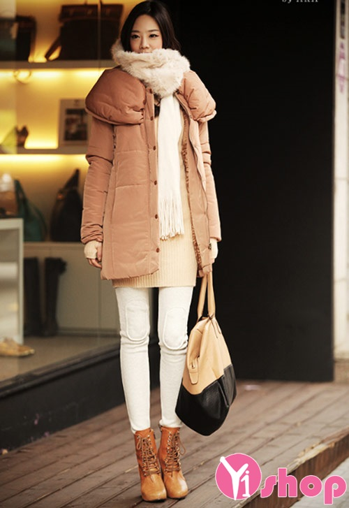 Áo khoác phao nữ dáng dài đẹp đông 2021 - 2022 thanh lịch không lạnh