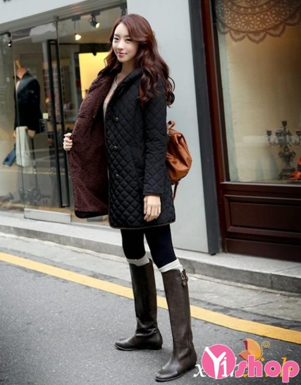 Áo khoác phao nữ dáng dài đẹp Hàn Quốc cho nàng công sở thu đông 2019