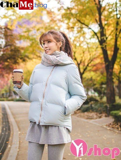 Áo khoác phao nữ dáng dài đẹp Hàn Quốc chống rét ngày đông