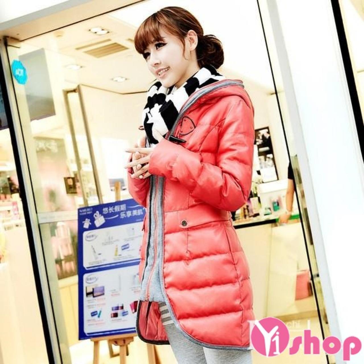 Áo khoác phao nữ dáng dài đẹp kiểu Hàn Quốc chống rét đông 2021 - 2022
