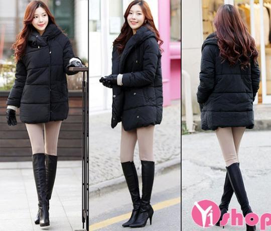 Áo khoác phao nữ dáng dài đẹp mùa đông 2019 kiểu Hàn Quốc