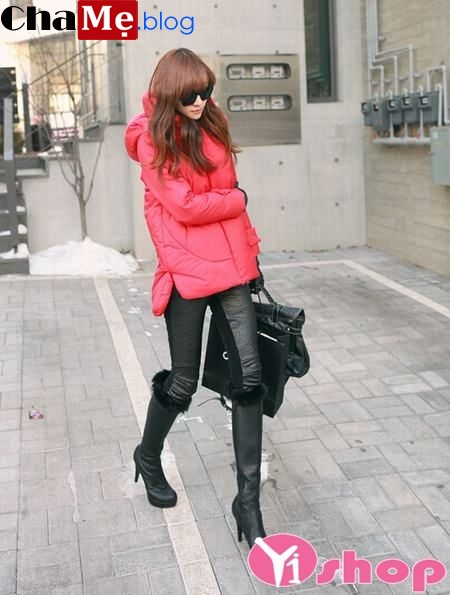 Áo khoác phao nữ dáng ngắn đẹp kiểu Hàn Quốc sành điệu đông 2021 - 2022