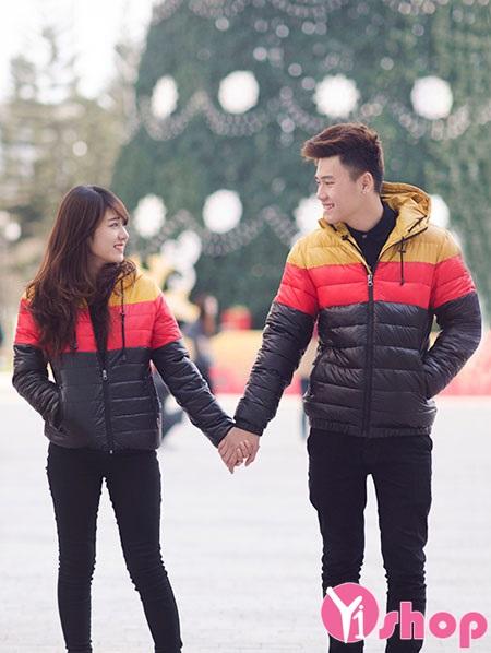 Áo khoác phao nữ kẻ sọc đẹp thu đông 2019 cho các cặp đôi ấm áp