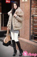 Áo khoác phao nữ lông thú đẹp đông 2021 – 2022 cho nàng công sở