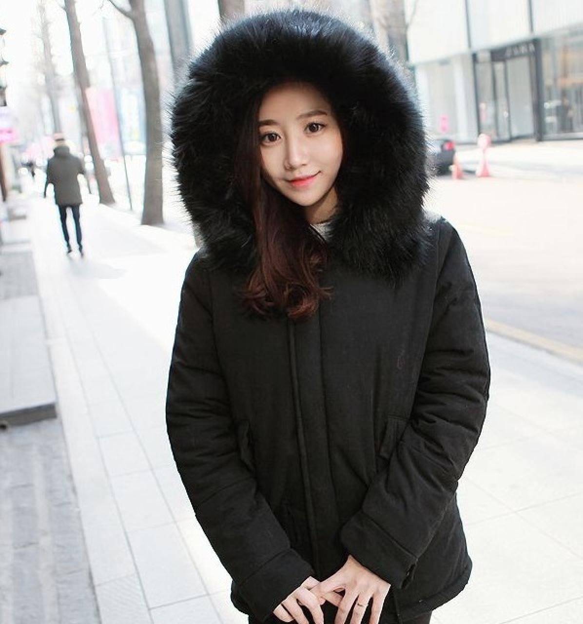 Áo khoác phao nữ lông vũ Hàn Quốc đẹp ấm áp không lạnh thu đông 2019