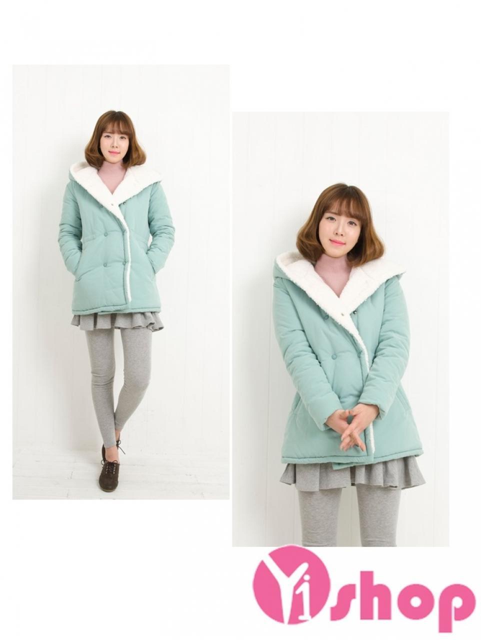 Áo khoác phao nữ lót lông đẹp thu đông 2019 chống rét hoàn hảo