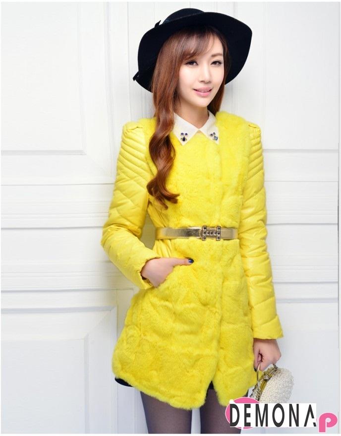 Áo khoác phao nữ màu vàng đẹp kiểu hàn quốc không lạnh thu đông 2021 - 2022 phần 10