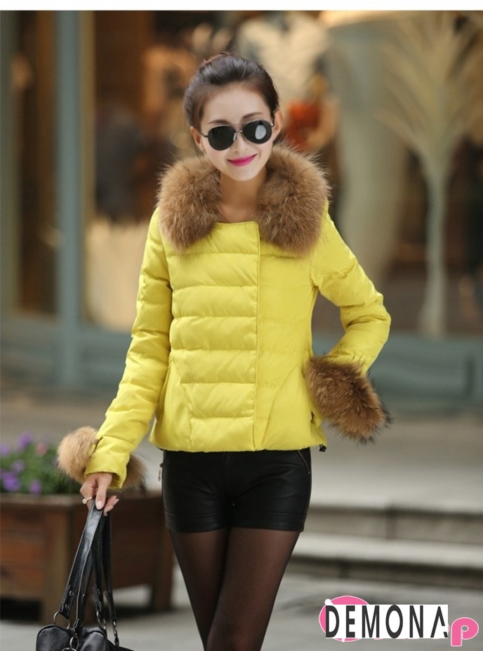 Áo khoác phao nữ màu vàng đẹp kiểu hàn quốc không lạnh thu đông 2021 - 2022 phần 12