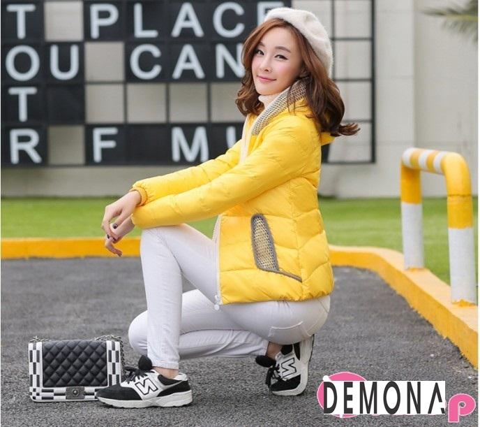 Áo khoác phao nữ màu vàng đẹp kiểu hàn quốc không lạnh thu đông 2021 - 2022 phần 13
