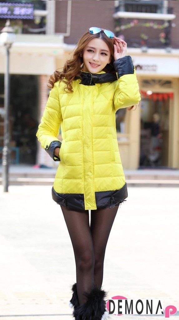 Áo khoác phao nữ màu vàng đẹp kiểu hàn quốc không lạnh thu đông 2021 - 2022 phần 7