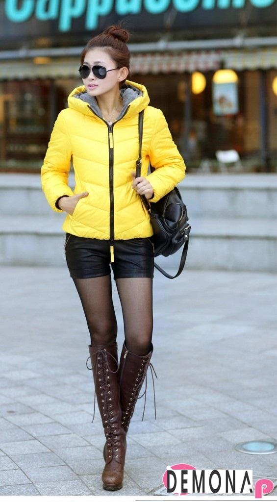 Áo khoác phao nữ màu vàng đẹp kiểu hàn quốc không lạnh thu đông 2021 - 2022 phần 8