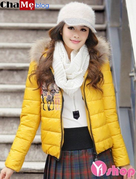 Áo khoác phao nữ mũ lông đẹp tránh gió ngày đại hàn đông 2021 - 2022