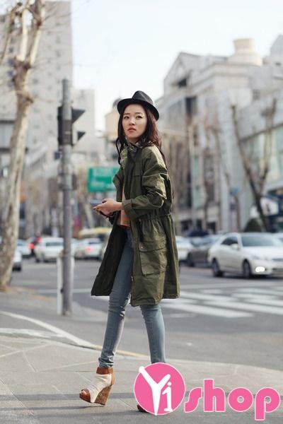 Áo khoác quân đội nữ Hàn Quốc đẹp thu đông 2021 - 2022 trẻ trung ấm áp