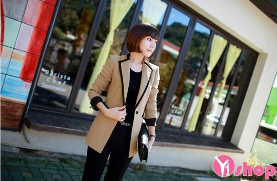 Áo khoác vest nữ Hàn Quốc đẹp thanh lịch đi làm thu đông 2019