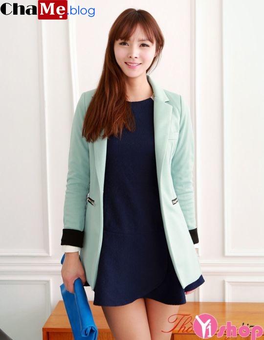 Áo khoác vest nữ dáng dài đẹp công sở Hàn Quốc đông 2021 - 2022