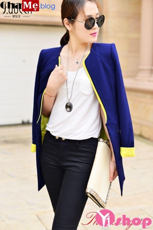 Áo khoác vest nữ dáng dài đẹp dịu dàng đón đông 2021 - 2022