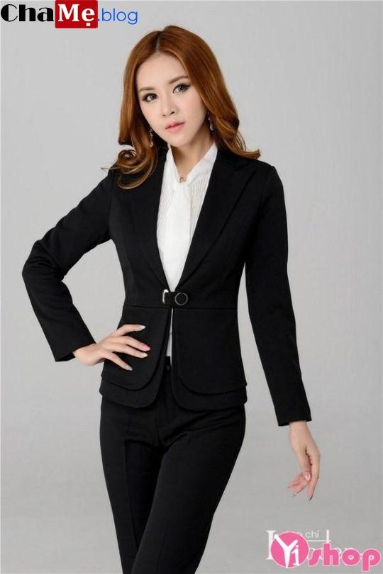 Áo khoác vest nữ Hàn Quốc đẹp thanh lịch kín đáo đông 2021 - 2022