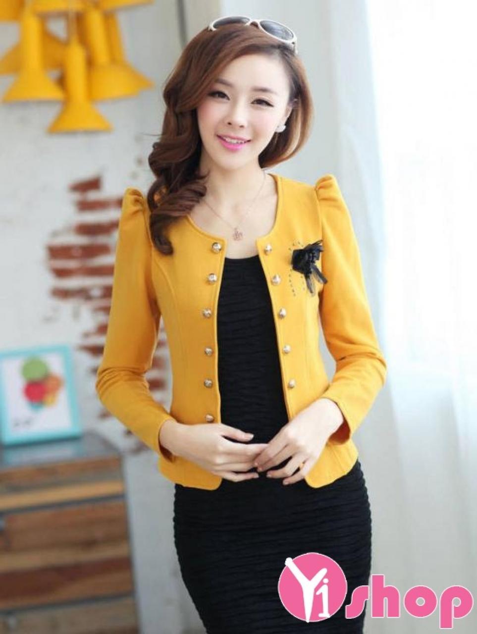 Áo khoác vest nữ kiểu Hàn Quốc đẹp thanh lịch ngày mùa thu đông 2019