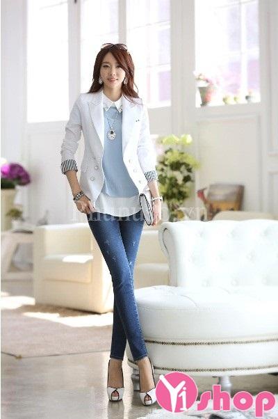 Áo khoác vest nữ màu trắng đẹp khẳng định phong cách thu đông 2019
