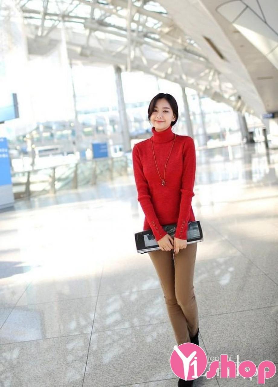 Áo len nữ cổ lọ đẹp hợp thời trang Hàn Quốc thu đông 2019 cho nàng công sở ấm áp