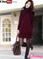 Áo len nữ dáng dài đẹp kiểu Hàn Quốc mùa đông 2021 – 2022 ấm áp