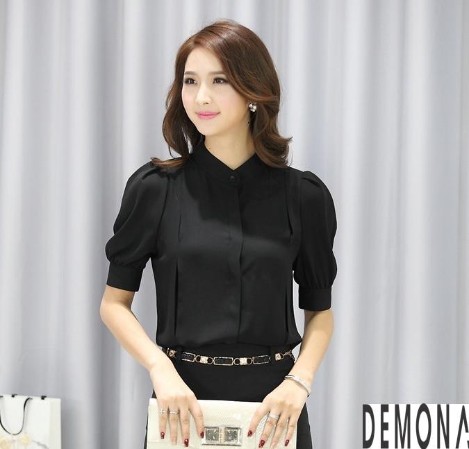 Thời trang áo sơ mi nữ cổ trụ màu đen đẹp nhất mọi thời đại 2019 phần 12