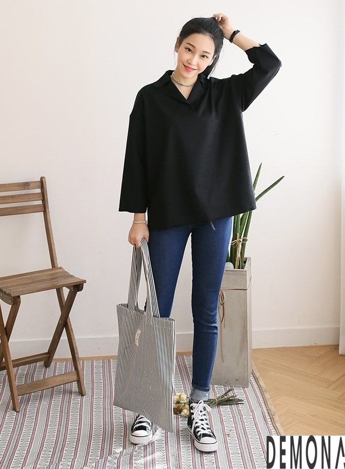 Thời trang áo sơ mi nữ cổ trụ màu đen đẹp nhất mọi thời đại 2019 phần 5