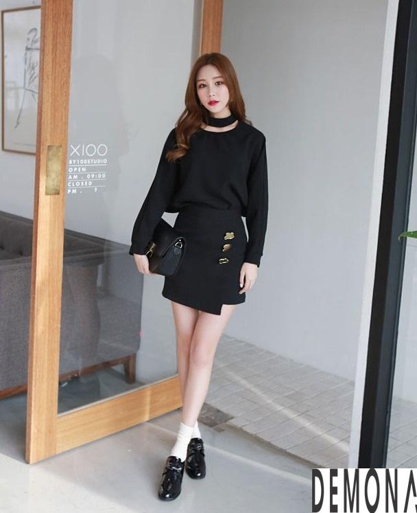 Thời trang áo sơ mi nữ cổ trụ màu đen đẹp nhất mọi thời đại 2019 phần 7