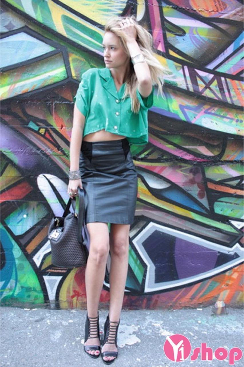 Kiểu áo sơ mi nữ croptop đẹp cho nàng cá tính dạo phố hè 2021 - 2022